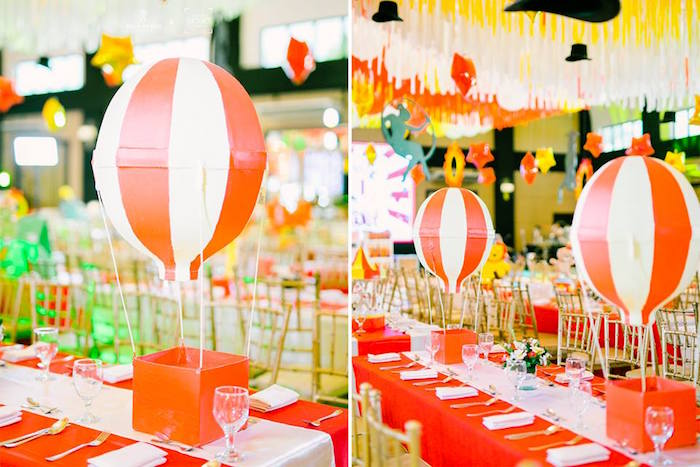 Hot Air Balloon Centerpiece + Guest Table from a Traditional Circus Birthday Party on Kara's Party Ideas | KarasPartyIdeas.com (24)