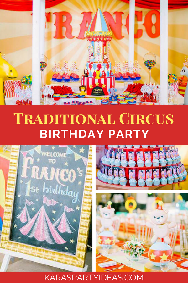 Traditional Circus Birthday Party via Kara's Party Ideas - KarasPartyIdeas.com