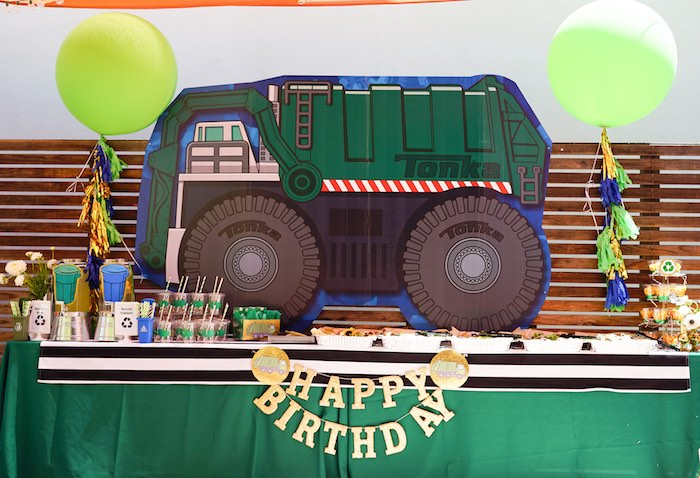 Garbage Truck Party Table from a Trash Bash Birthday Party on Kara's Party Ideas | KarasPartyIdeas.com (9)
