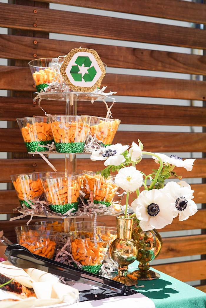 Recycling + Garbage-inspired Snack Cups from a Trash Bash Birthday Party on Kara's Party Ideas | KarasPartyIdeas.com (8)