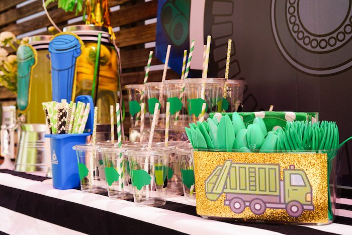 Garbage Truck Cups + Partyware from a Trash Bash Birthday Party on Kara's Party Ideas | KarasPartyIdeas.com (7)