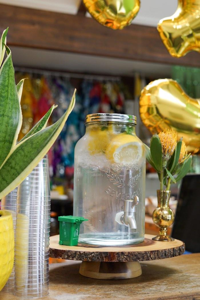 Beverage Dispenser + Stump Pedestal from a Trash Bash Birthday Party on Kara's Party Ideas | KarasPartyIdeas.com (6)