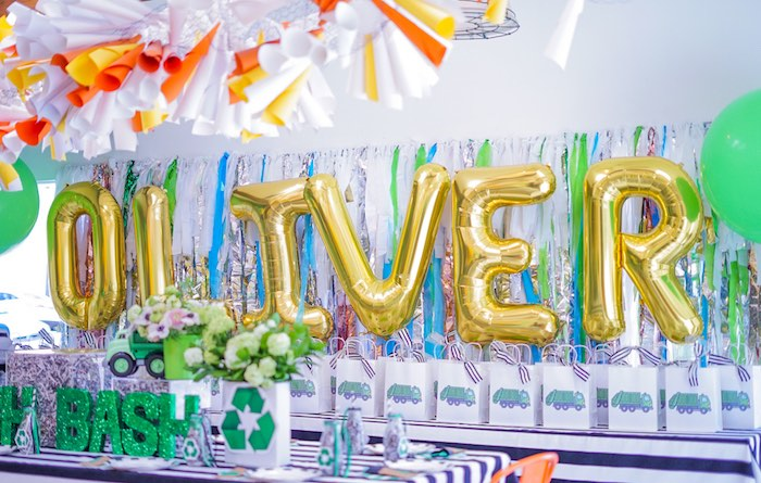 Trash-inspired Tables + Gift Bags from a Trash Bash Birthday Party on Kara's Party Ideas | KarasPartyIdeas.com (19)