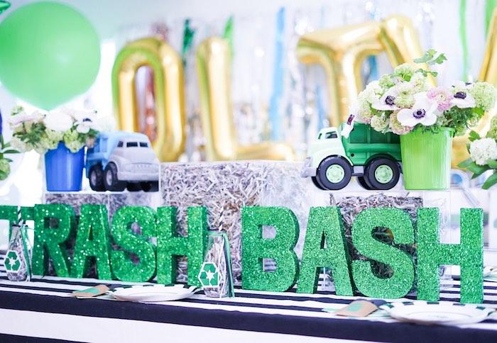 Trash Bash Guest Table Center + Decor from a Trash Bash Birthday Party on Kara's Party Ideas | KarasPartyIdeas.com (18)