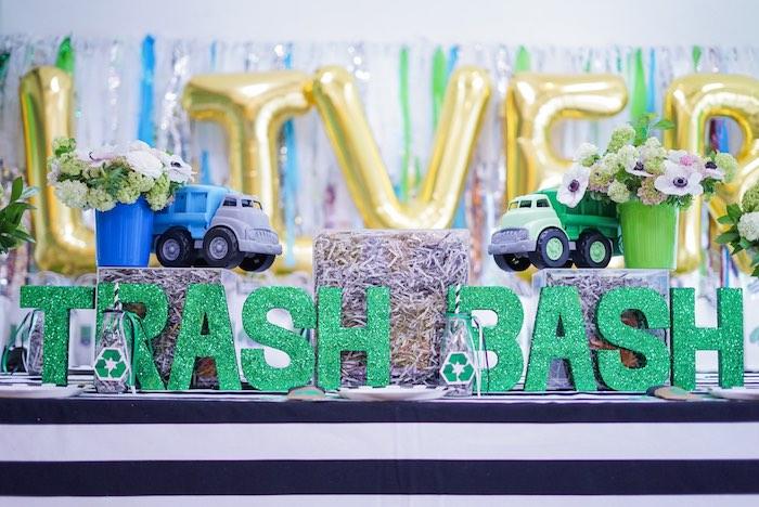 Trash Bash Guest Table from a Trash Bash Birthday Party on Kara's Party Ideas | KarasPartyIdeas.com (17)