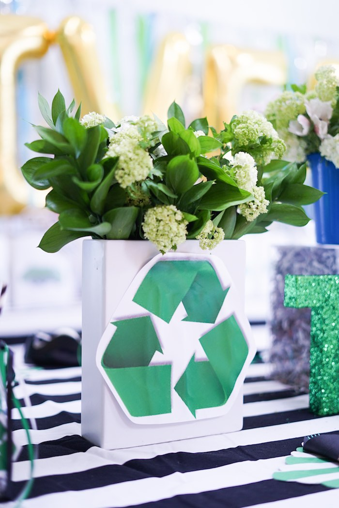 Recycling-inspired Floral Arrangement from a Trash Bash Birthday Party on Kara's Party Ideas | KarasPartyIdeas.com (16)