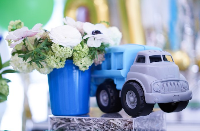 Garbage Truck & Bloom Table Centerpiece from a Trash Bash Birthday Party on Kara's Party Ideas | KarasPartyIdeas.com (15)