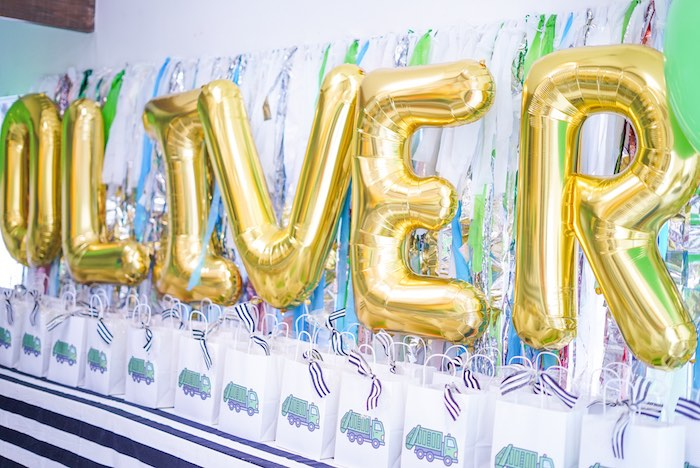 Mylar Balloon Banner + Garbage Truck Gift Bags from a Trash Bash Birthday Party on Kara's Party Ideas | KarasPartyIdeas.com (14)