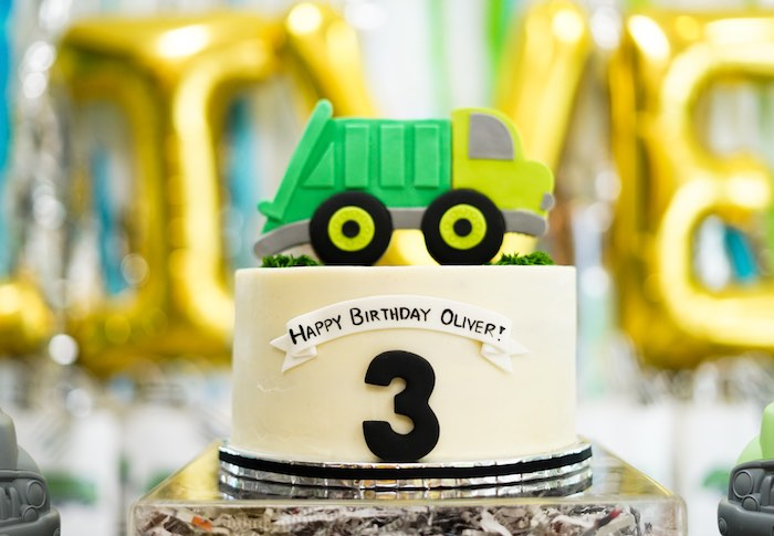 Garbage Truck Cake from a Trash Bash Birthday Party on Kara's Party Ideas | KarasPartyIdeas.com (11)