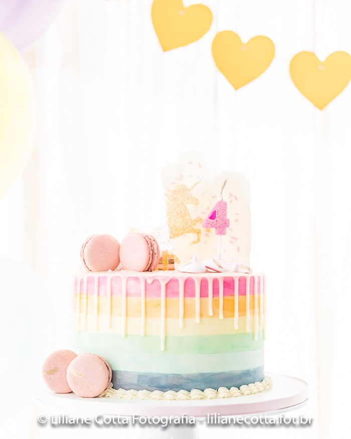 Pink Rainbow Unicorn Drip Cake from a Unicorn Rainbow Art Birthday Party on Kara's Party Ideas | KarasPartyIdeas.com (21)