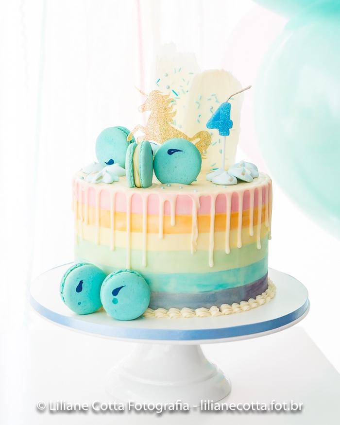 Rainbow Unicorn Drip Cake from a Unicorn Rainbow Art Birthday Party on Kara's Party Ideas   KarasPartyIdeas.com (19)