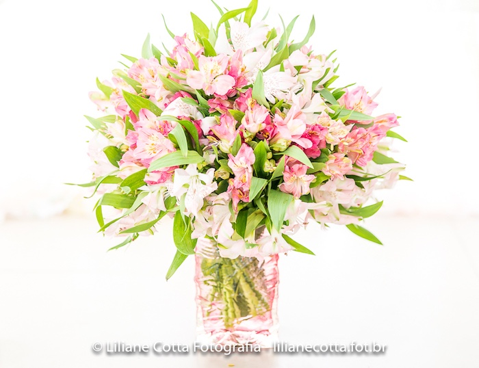 Pink Floral Arrangement from a Unicorn Rainbow Art Birthday Party on Kara's Party Ideas | KarasPartyIdeas.com (18)