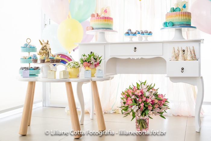 Unicorn Rainbow Art Birthday Party Spread on Kara's Party Ideas | KarasPartyIdeas.com (17)