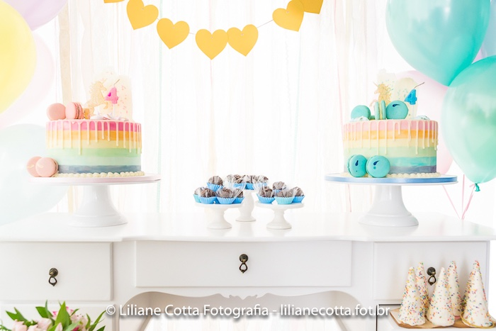 Pastel Unicorn Cake Table from a Unicorn Rainbow Art Birthday Party on Kara's Party Ideas | KarasPartyIdeas.com (16)