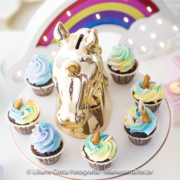 Unicorn Cupcakes + Dessert Pedestal from a Unicorn Rainbow Art Birthday Party on Kara's Party Ideas | KarasPartyIdeas.com (13)