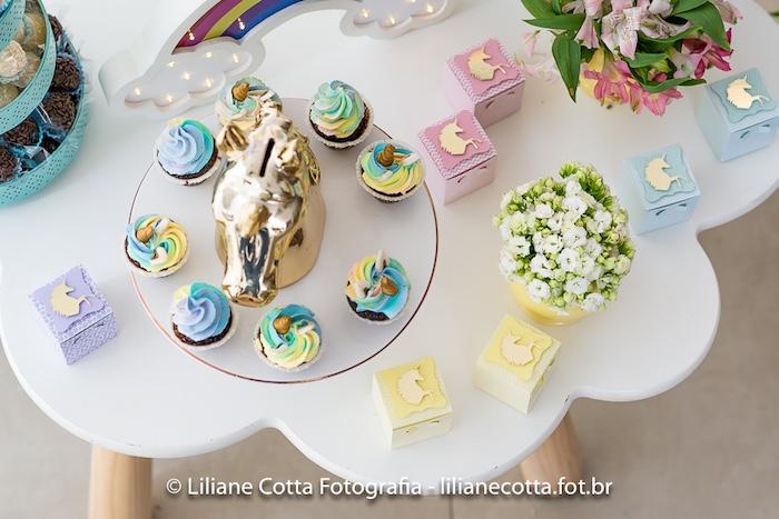 Cloud Table from a Unicorn Rainbow Art Birthday Party on Kara's Party Ideas   KarasPartyIdeas.com (12)