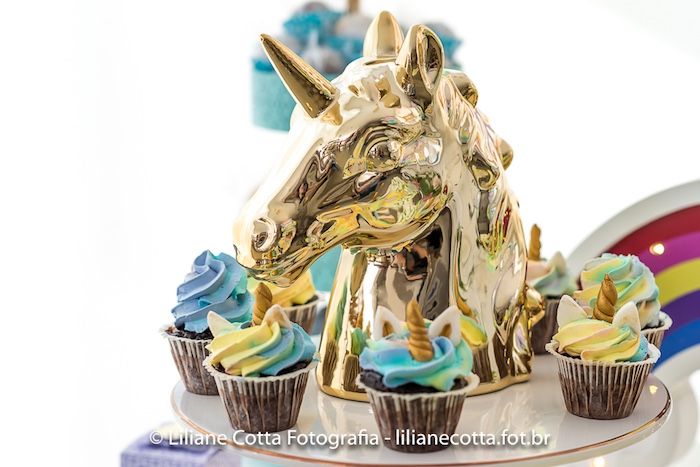 Unicorn Cupcakes from a Unicorn Rainbow Art Birthday Party on Kara's Party Ideas | KarasPartyIdeas.com (10)