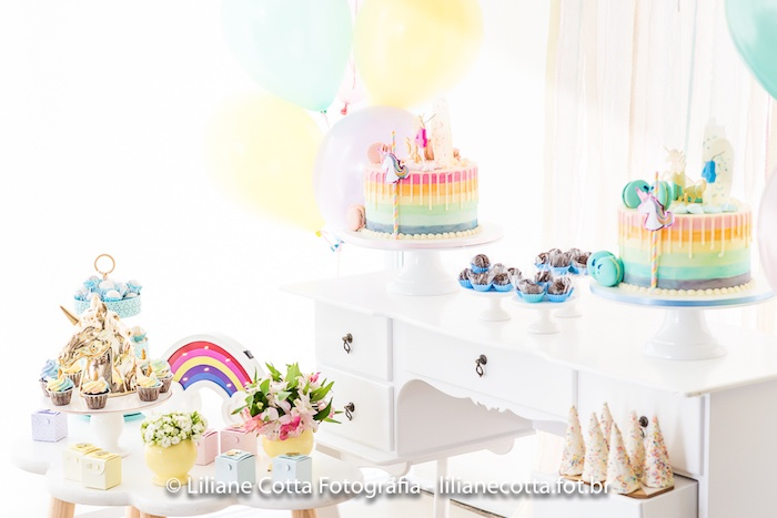 Unicorn Rainbow Art Birthday Party Dessert Table on Kara's Party Ideas | KarasPartyIdeas.com (9)