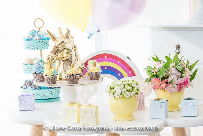 Unicorn Themed Party Table from a Unicorn Rainbow Art Birthday Party on Kara's Party Ideas | KarasPartyIdeas.com (8)