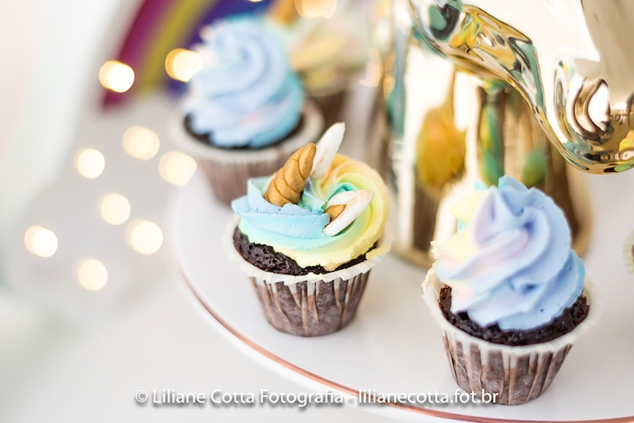 Rainbow Unicorn Cupcakes from a Unicorn Rainbow Art Birthday Party on Kara's Party Ideas | KarasPartyIdeas.com (7)