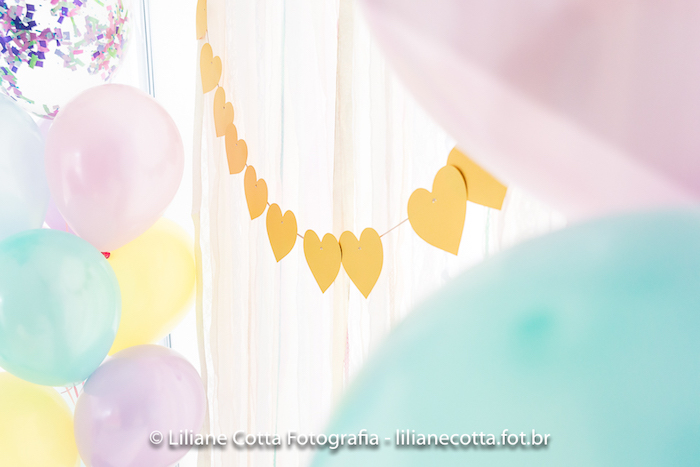 Gold Heart Banner from a Unicorn Rainbow Art Birthday Party on Kara's Party Ideas | KarasPartyIdeas.com (26)