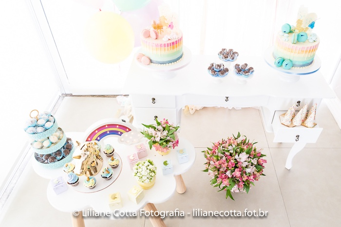 Unicorn + Cloud Dessert Tabletop from a Unicorn Rainbow Art Birthday Party on Kara's Party Ideas | KarasPartyIdeas.com (25)