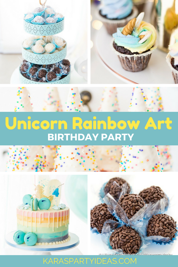 Unicorn Rainbow Art Birthday Party via Kara's Party Ideas - KarasPartyIdeas.com