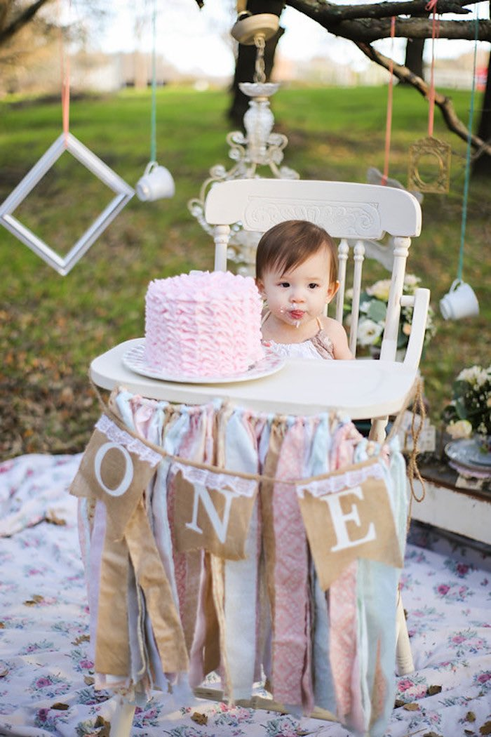 Vintage Alice in Wonderland Inspired Cake Smash Highchair on Kara's Party Ideas | KarasPartyIdeas.com (8)