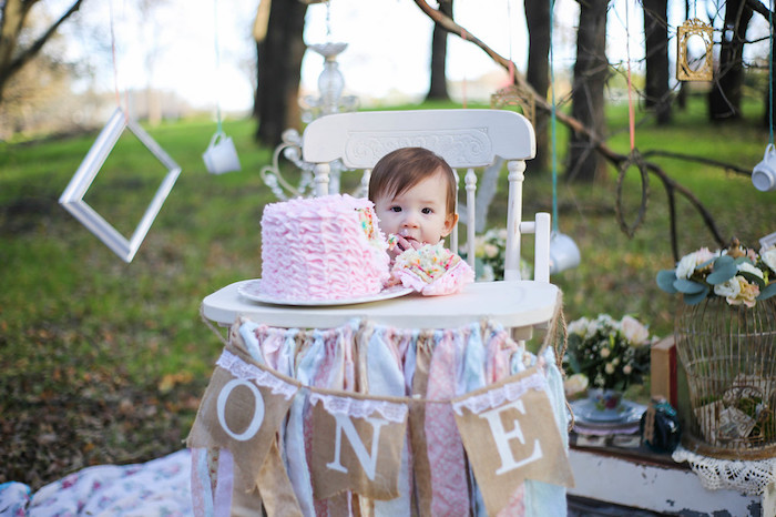 Vintage Alice in Wonderland Inspired Cake Smash on Kara's Party Ideas | KarasPartyIdeas.com (7)