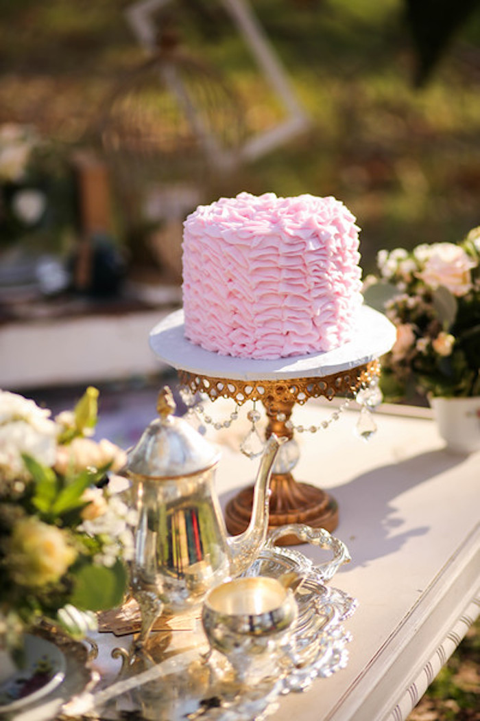 Pink Ruffle Cake from a Vintage Alice in Wonderland Inspired Cake Smash on Kara's Party Ideas | KarasPartyIdeas.com (32)