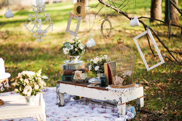 Alice in Wonderland Party Table from a Vintage Alice in Wonderland Inspired Cake Smash on Kara's Party Ideas | KarasPartyIdeas.com (30)