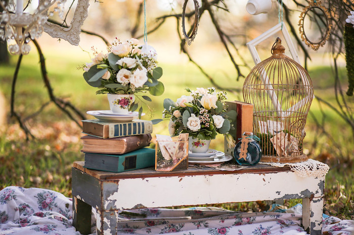 Alice in Wonderland-inspired Table from a Vintage Alice in Wonderland Inspired Cake Smash on Kara's Party Ideas | KarasPartyIdeas.com (28)