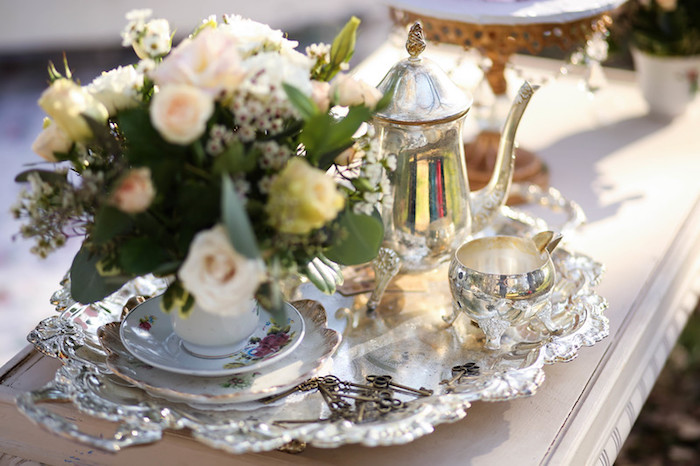 Silver Tea Set from a Vintage Alice in Wonderland Inspired Cake Smash on Kara's Party Ideas | KarasPartyIdeas.com (27)