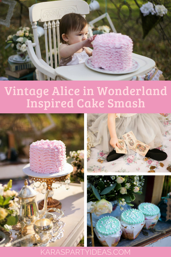 Vintage Alice in Wonderland Inspired Cake Smash via Kara's Party Ideas - KarasPartyIdeas.com