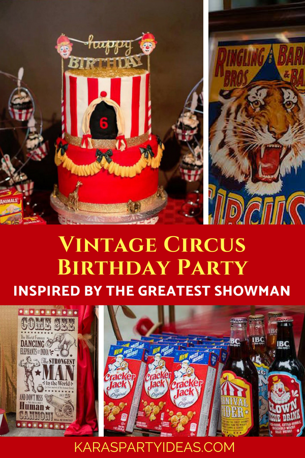 Vintage Circus Birthday Party inspired by The Greatest Showman via Kara_s Party Ideas - KarasPartyIdeas.com