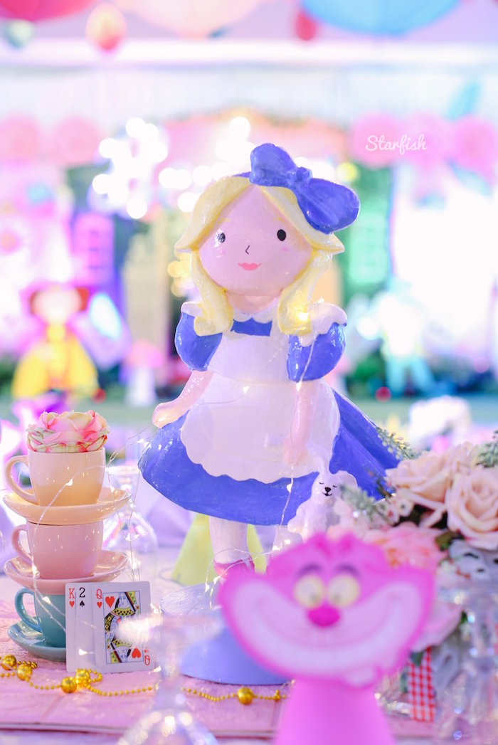 Ceramic Alice in Wonderland Centerpiece from a Whimsical Alice in Wonderland Birthday Party on Kara's Party Ideas | KarasPartyIdeas.com (24)