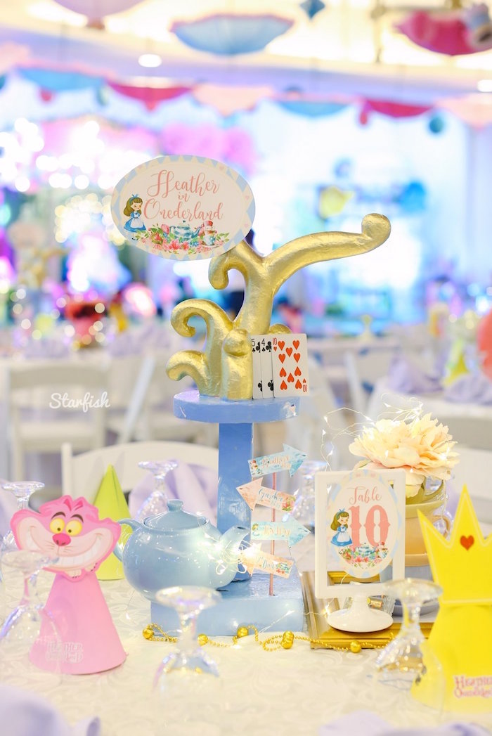 Alice in Wonderland Guest Table Centerpiece from a Whimsical Alice in Wonderland Birthday Party on Kara's Party Ideas | KarasPartyIdeas.com (21)