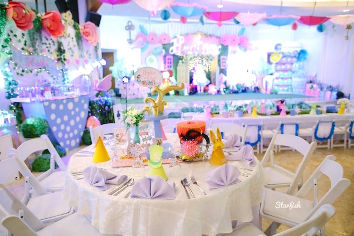 Alice in Wonderland Guest Table from a Whimsical Alice in Wonderland Birthday Party on Kara's Party Ideas | KarasPartyIdeas.com (20)