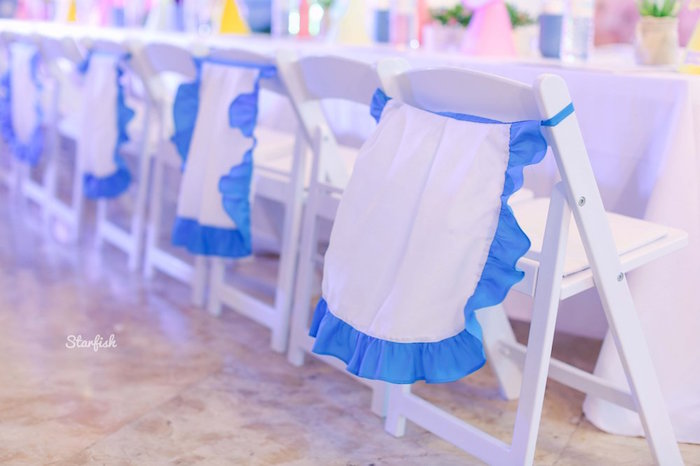 Alice in Wonderland Pinafore Chair Ties from a Whimsical Alice in Wonderland Birthday Party on Kara's Party Ideas | KarasPartyIdeas.com (18)