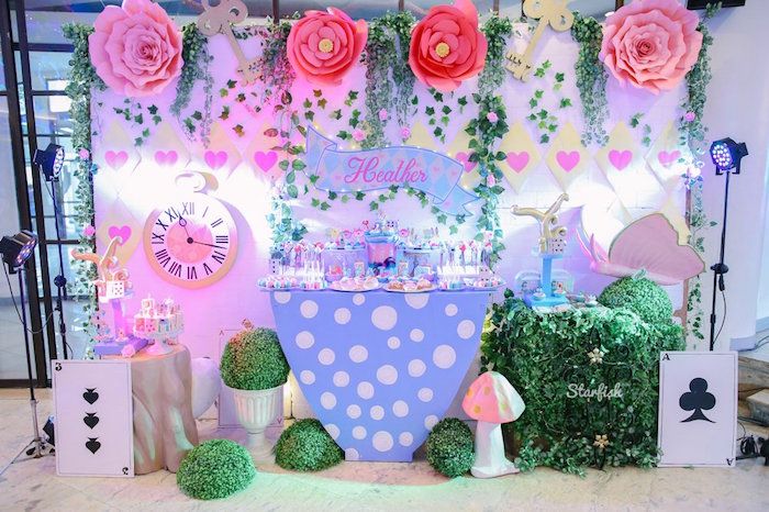 Alice in Wonderland Dessert Table from a Whimsical Alice in Wonderland Birthday Party on Kara's Party Ideas | KarasPartyIdeas.com (16)