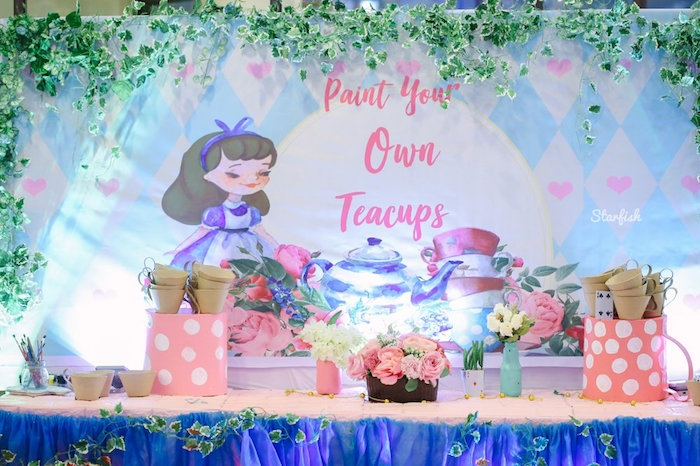 Paint Your Own Teacups Table from a Whimsical Alice in Wonderland Birthday Party on Kara's Party Ideas | KarasPartyIdeas.com (15)
