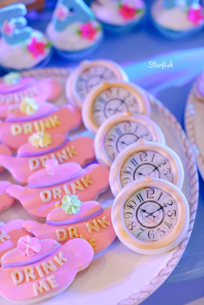 Alice in Wonderland Cookies from a Whimsical Alice in Wonderland Birthday Party on Kara's Party Ideas | KarasPartyIdeas.com (13)