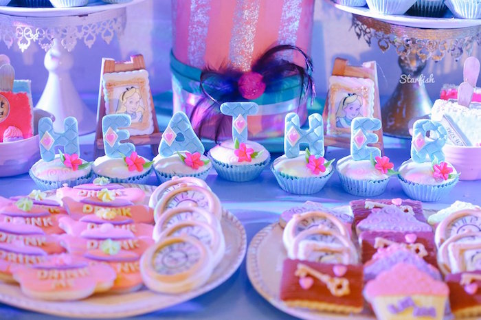 Alice in Wonderland-inspired Letter Cupcakes from a Whimsical Alice in Wonderland Birthday Party on Kara's Party Ideas | KarasPartyIdeas.com (12)