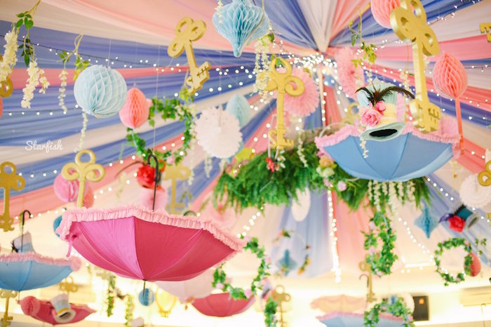 Alice in Wonderland-inspired Ceilingscape from a Whimsical Alice in Wonderland Birthday Party on Kara's Party Ideas | KarasPartyIdeas.com (39)
