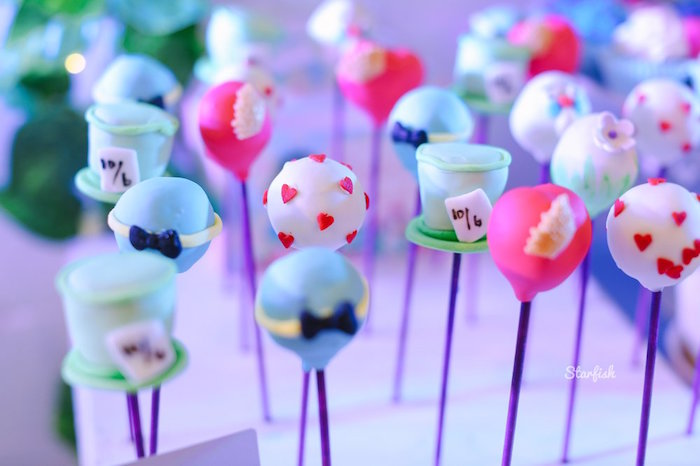 Alice in Wonderland Cake Pops from a Whimsical Alice in Wonderland Birthday Party on Kara's Party Ideas | KarasPartyIdeas.com (11)