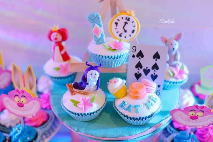 Alice in Wonderland Cupcakes from a Whimsical Alice in Wonderland Birthday Party on Kara's Party Ideas | KarasPartyIdeas.com (8)