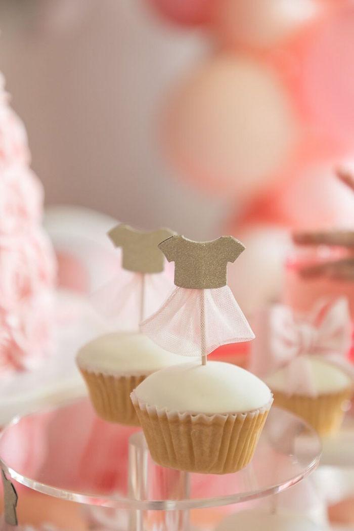 Ballerina Cupcakes from a Pink + White Ballerina Birthday Party on Kara's Party Ideas | KarasPartyIdeas.com