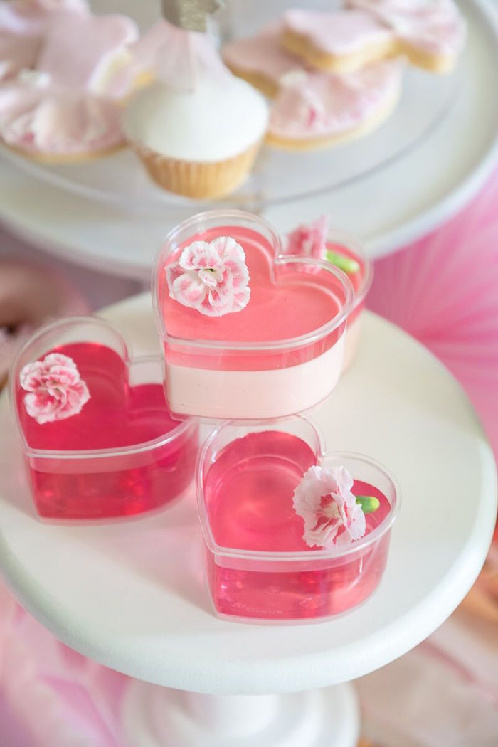 Pink Heart Jello Cups from a Pink + White Ballerina Birthday Party on Kara's Party Ideas | KarasPartyIdeas.com