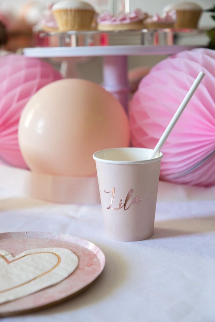 Personalized Pink Partyware from a Pink + White Ballerina Birthday Party on Kara's Party Ideas | KarasPartyIdeas.com