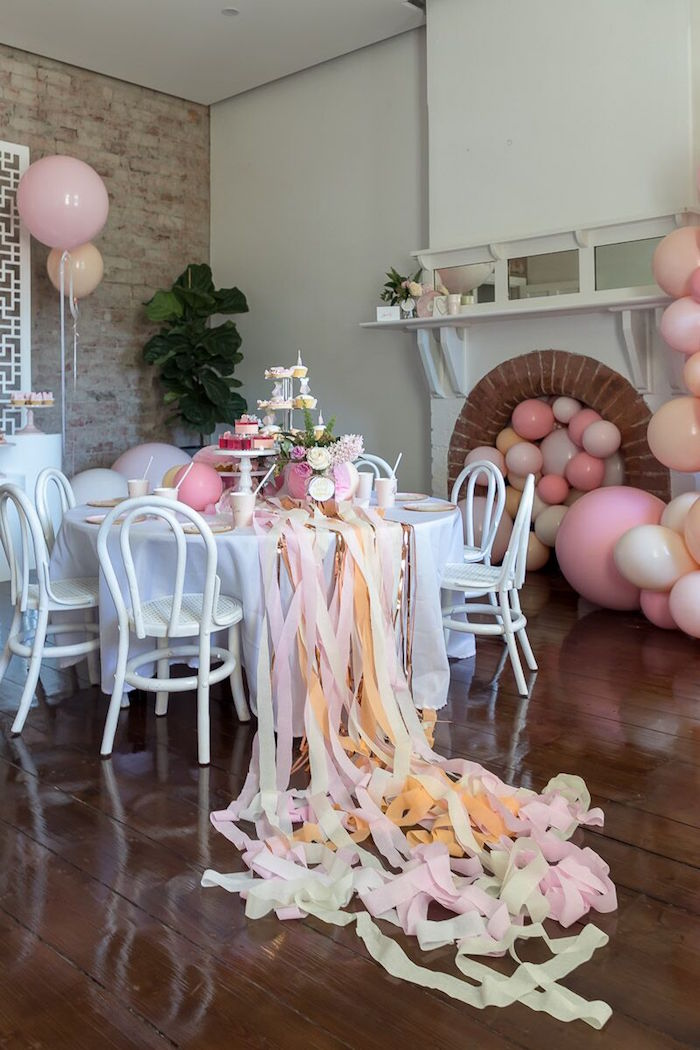 Ribbon Tassel Guest Table from a Pink + White Ballerina Birthday Party on Kara's Party Ideas | KarasPartyIdeas.com